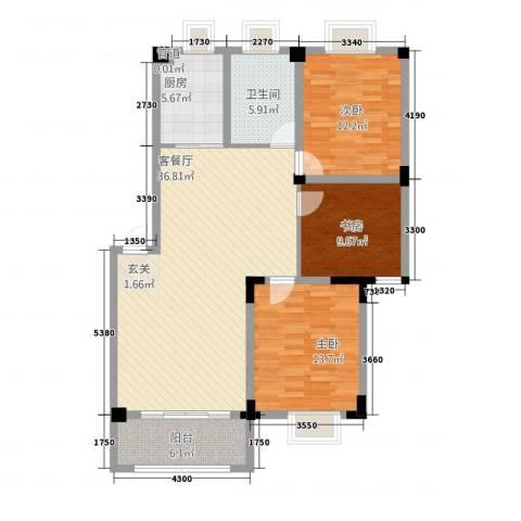 世纪锦都3室1厅1卫1厨2226116.00㎡户型图