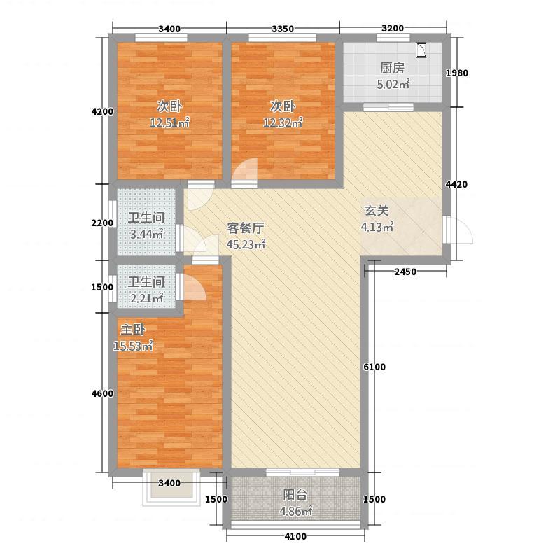 金碧园11115.20㎡A1户型3室2厅2卫1厨