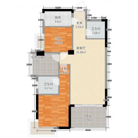 和合国际城二期2室1厅2卫1厨82.24㎡户型图