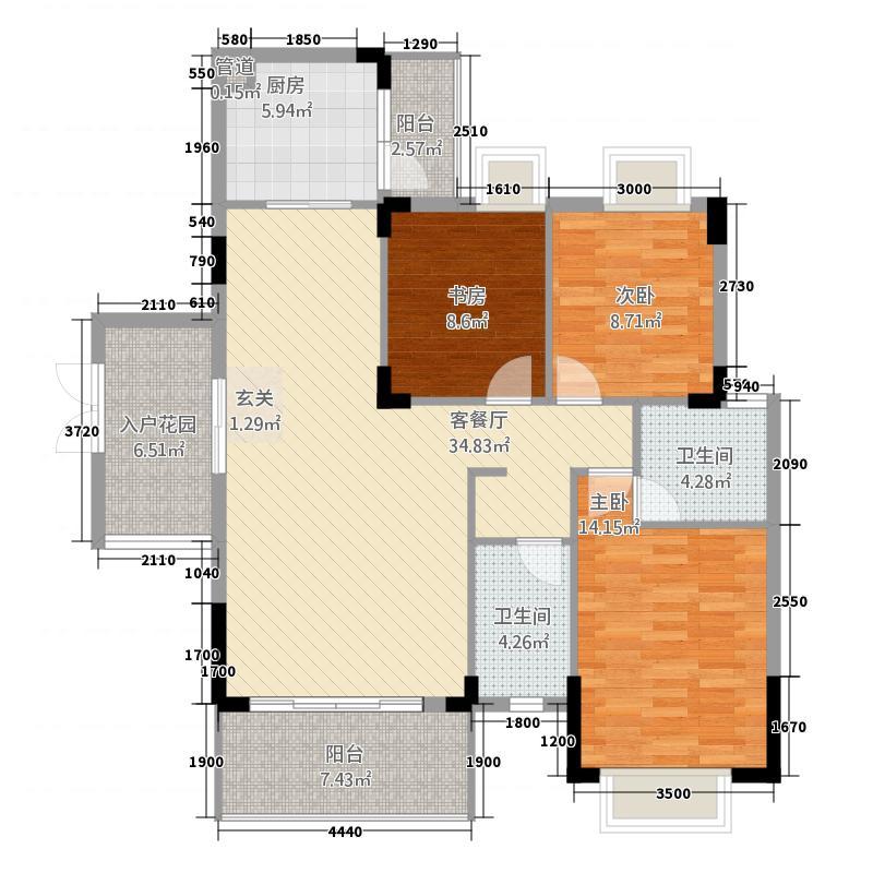 灵贺花园小区3户型2室2厅1卫1厨