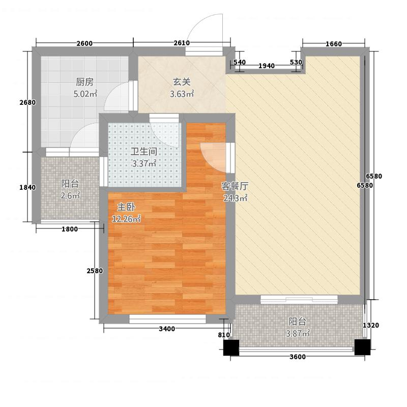 天瑞凤鸣花园272.20㎡高层F2户型1室2厅1卫1厨