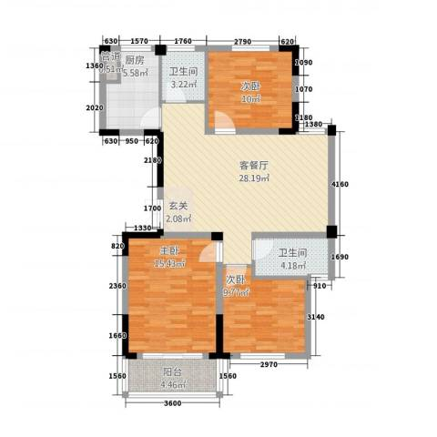 东方花园3室1厅2卫1厨3116.00㎡户型图