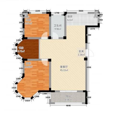东方花园3室1厅1卫0厨3136.00㎡户型图