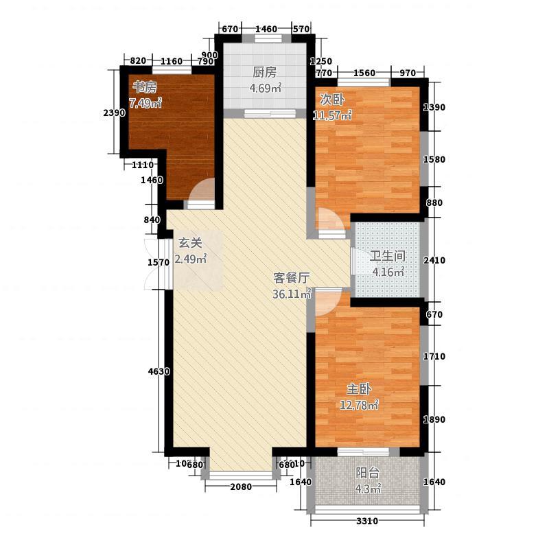吴忠禧瑞华府116.20㎡户型3室2厅1卫1厨