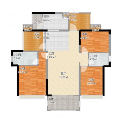 佳兆业帝景中央3室1厅2卫1厨162.00㎡户型图