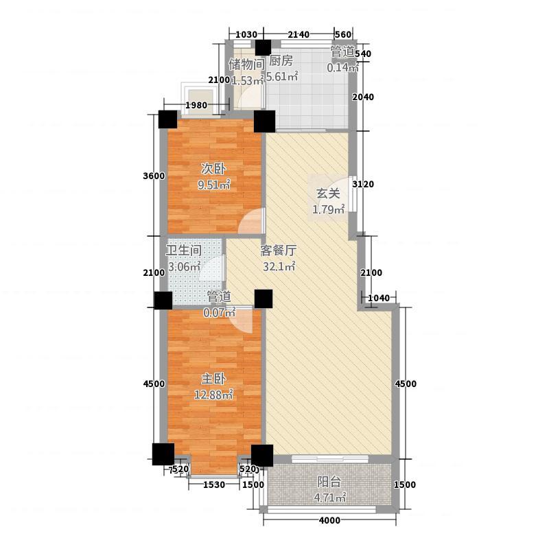 欧景名邸221.15㎡E户型2室2厅1卫1厨