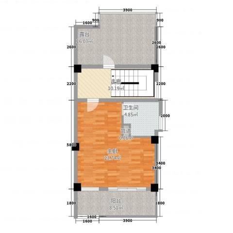 玉水金地・白沙墅1室0厅1卫0厨63.58㎡户型图