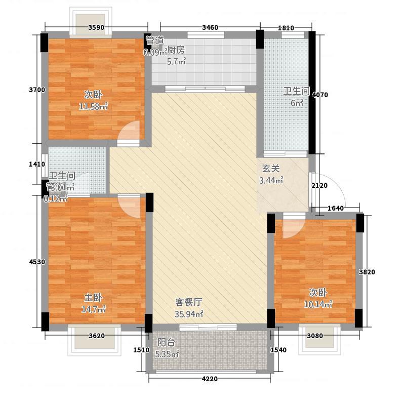 融和家园131.88㎡B1户型3室2厅2卫1厨