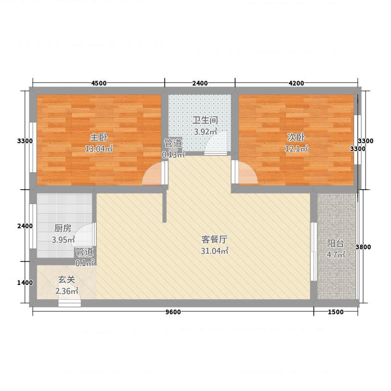 燕泰国际花园D1户型2室2厅1卫1厨