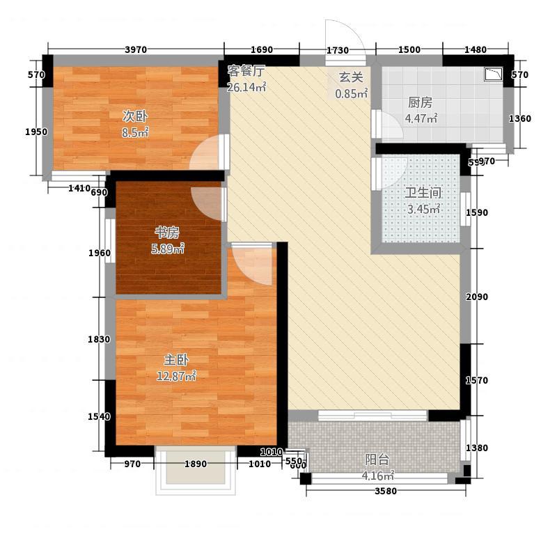 企业家苑634.22㎡6-B户型3室2厅1卫1厨