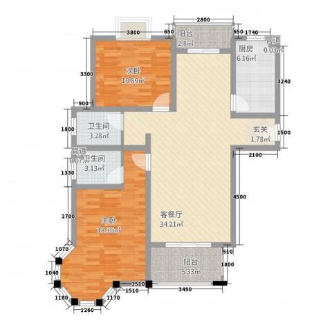 昆城豪庭2室1厅2卫1厨113.00㎡户型图