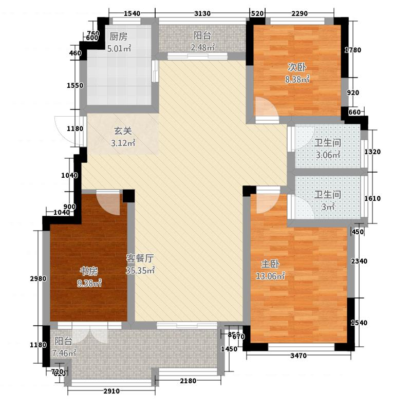 同�・玫瑰庄园126.87㎡2户型3室2厅2卫1厨