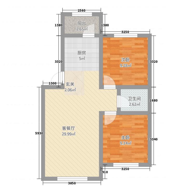凯旋康城12.20㎡1户型2室2厅1卫1厨