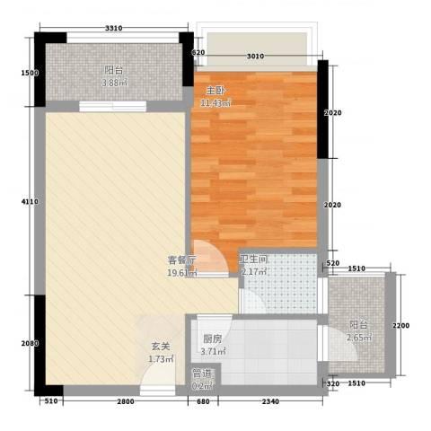 涪江印象山千院1室1厅1卫1厨58.00㎡户型图