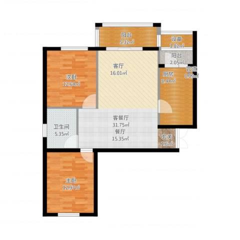 花园五座2室1厅1卫1厨114.00㎡户型图