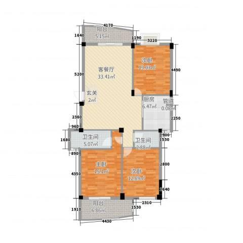 宏源大景城3室1厅2卫1厨2642128.00㎡户型图