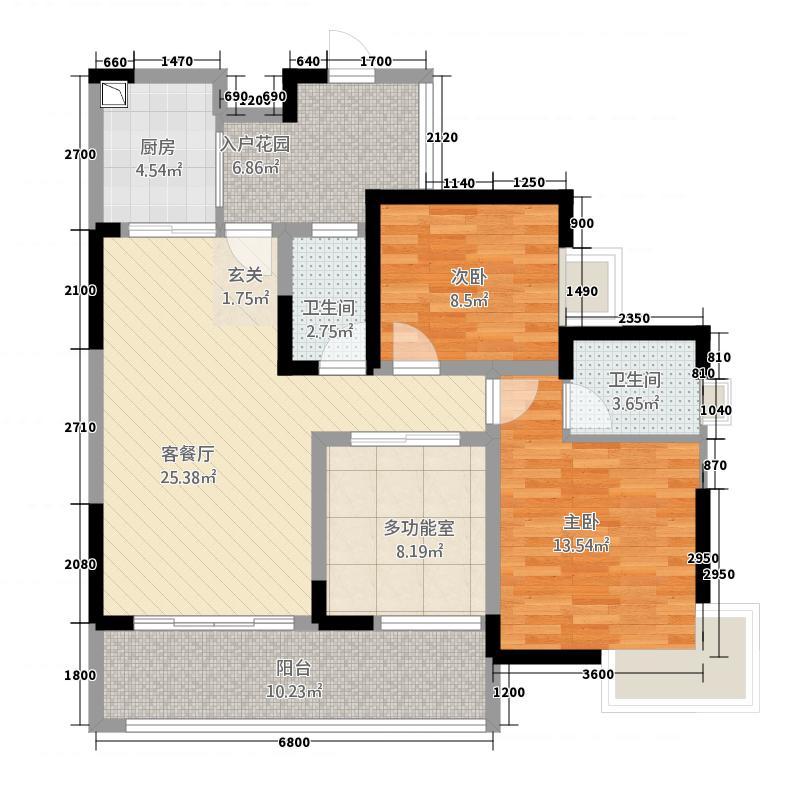 奥兰半岛二期167.57㎡二期16号楼标准层B1户型2室2厅2卫1厨