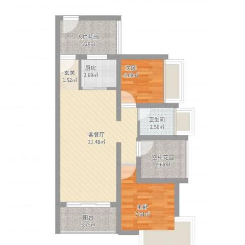德丰二月天2室1厅1卫1厨79.00㎡户型图