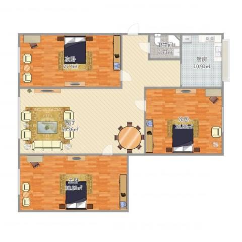 安达小区3室1厅1卫1厨201.00㎡户型图