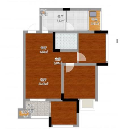 晶山新城际3室1厅3卫2厨88.00㎡户型图