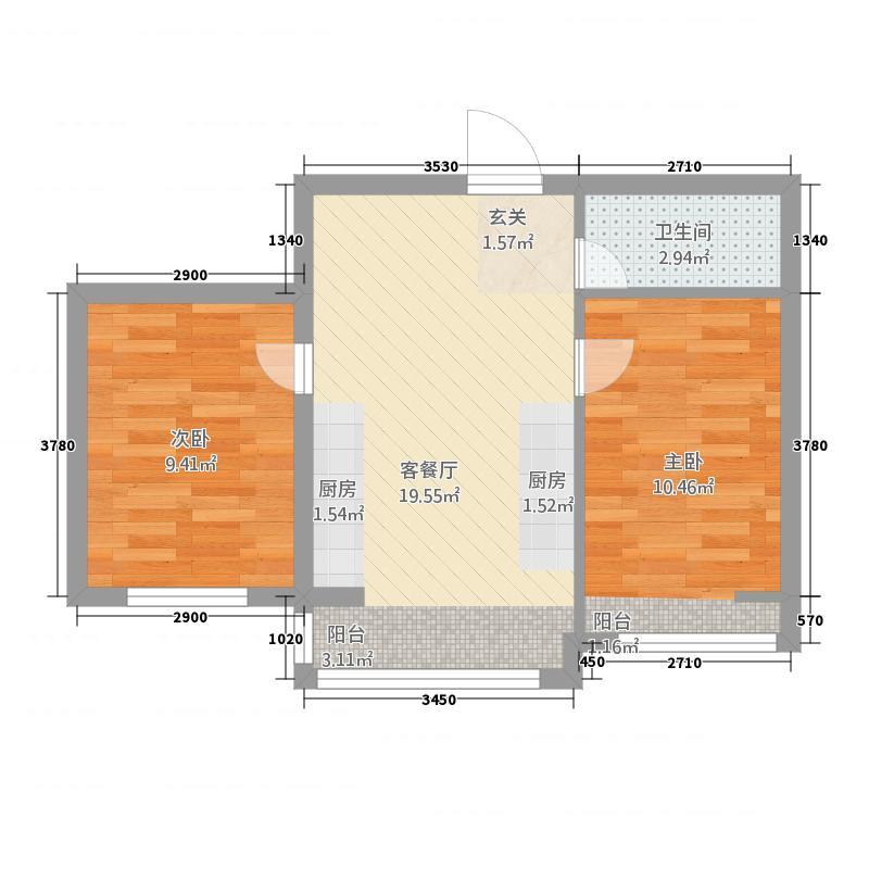 东升江郡58.43㎡户型2室2厅1卫1厨