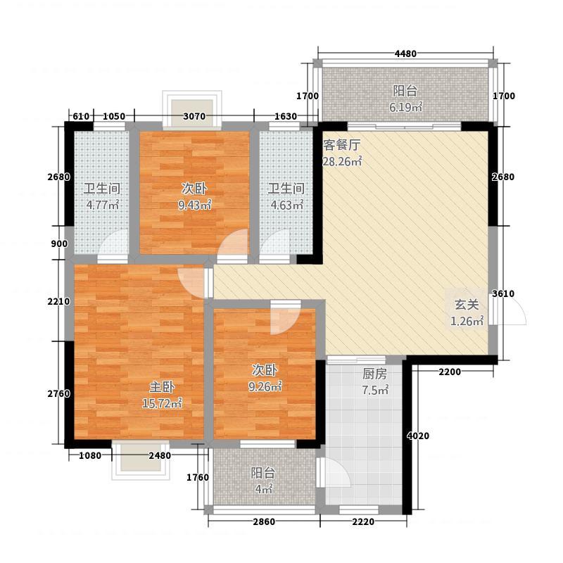 豪景苑62117.41㎡602单张(350x200H)_编辑户型3室2厅2卫1厨