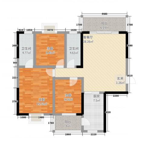 豪景苑3室1厅2卫1厨62117.00㎡户型图