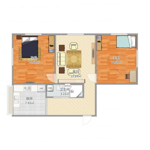 安达小区2室1厅1卫1厨84.00㎡户型图