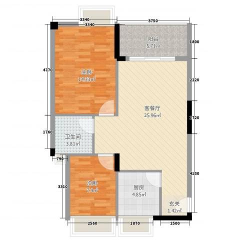 景湖春晓2室1厅1卫1厨87.00㎡户型图