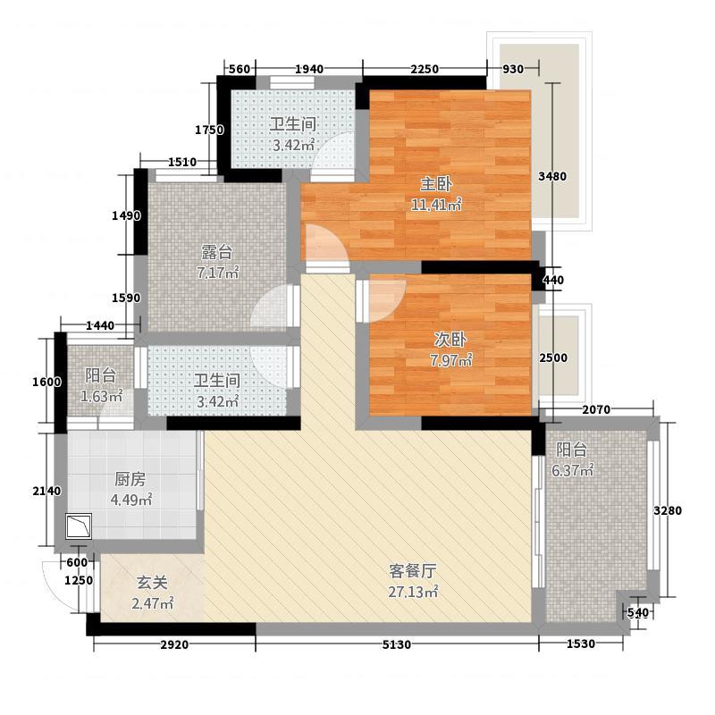 龙川北郡二期二期4栋标准层A户型3室2厅2卫1厨