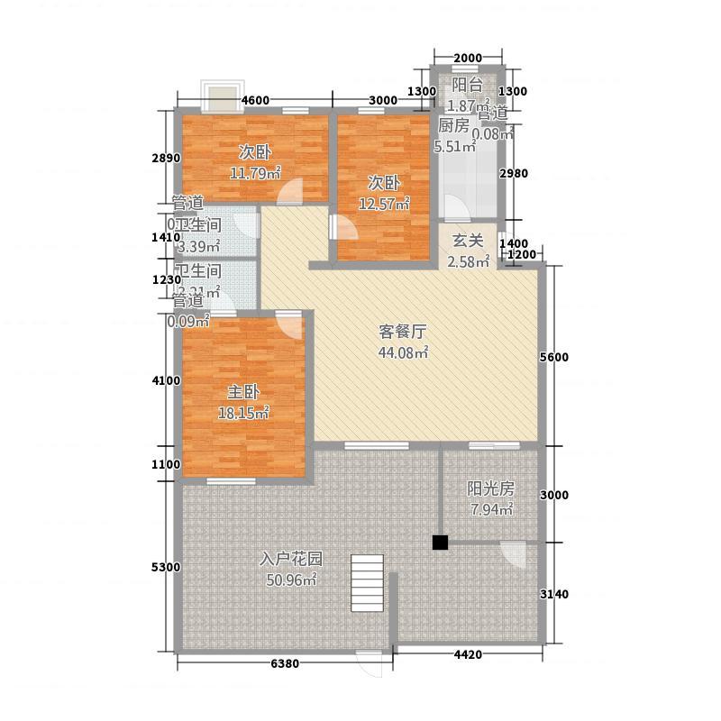 凌云花苑138.00㎡花园洋房(一层)户型3室2厅2卫1厨