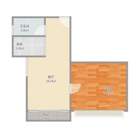 锦上花1室1厅1卫1厨56.00㎡户型图