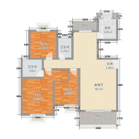 联泰香域滨江3室1厅2卫1厨102.37㎡户型图