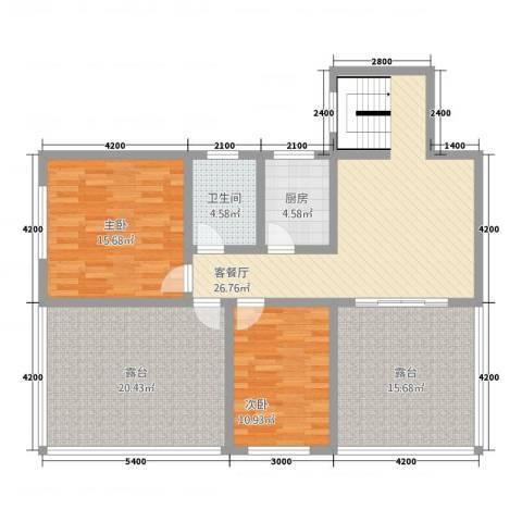 名门华轩2室1厅1卫1厨98.64㎡户型图