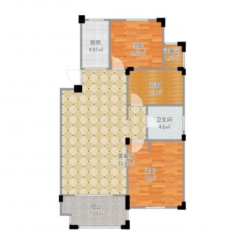 澳海澜庭3室1厅2卫1厨111.00㎡户型图