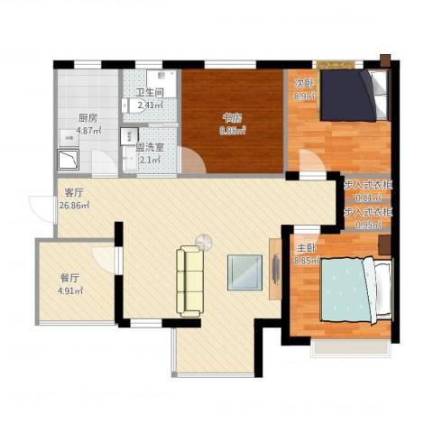 月珑湾3室3厅1卫1厨99.00㎡户型图