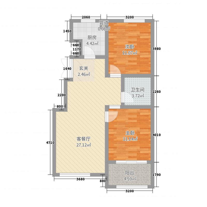 凯宇未来领寓图库户型2室2厅1卫