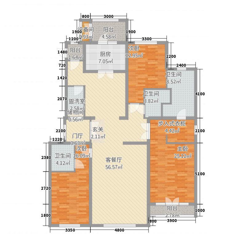 御宫华府2411.20㎡2、4、9、10、11#楼A2-F2户型3室3厅3卫1厨