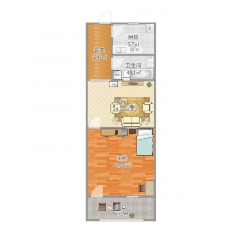 陈庄大街宿舍1室1厅1卫1厨78.00㎡户型图