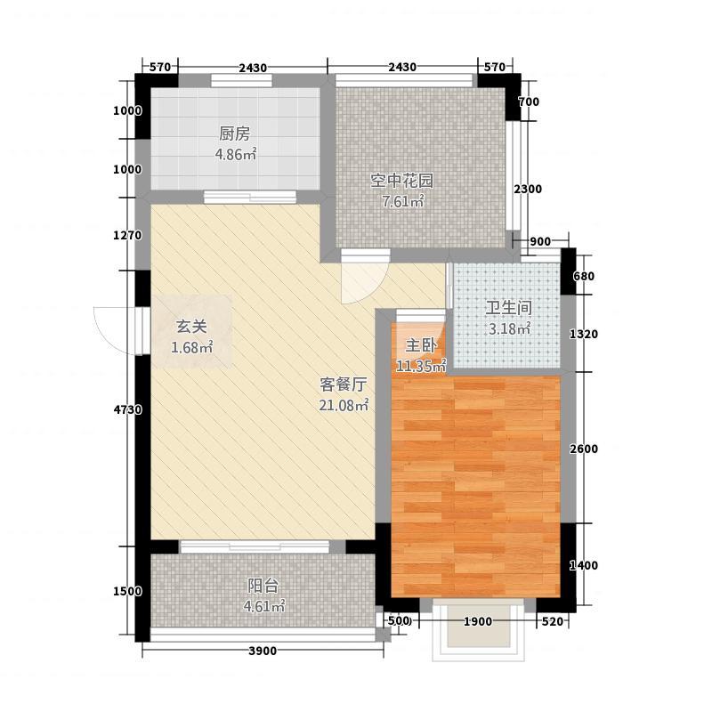 壹号公馆1274.20㎡户型2室2厅1卫1厨
