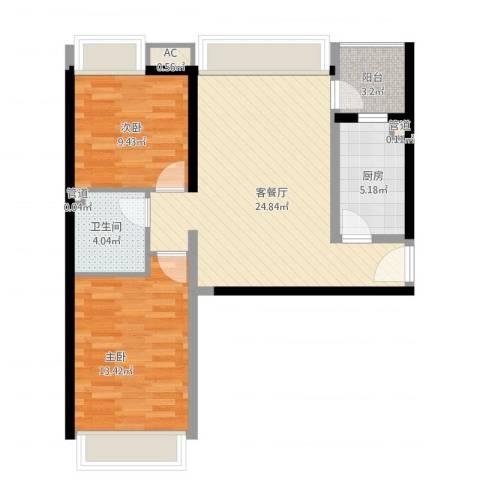 珠江东都国际2室1厅1卫1厨87.00㎡户型图