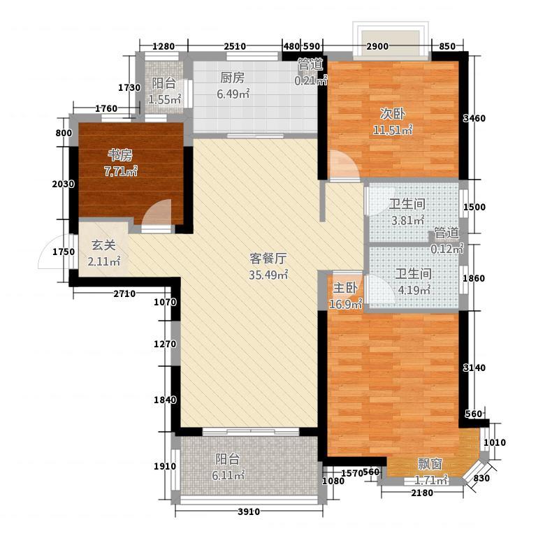 碧桂园32132.20㎡C型户户型3室2厅2卫1厨