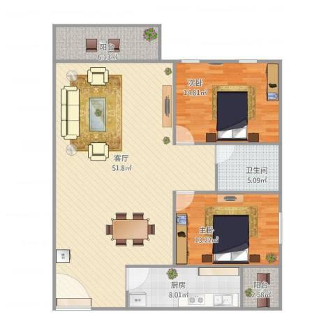 嘉禾新城2室1厅1卫1厨135.00㎡户型图