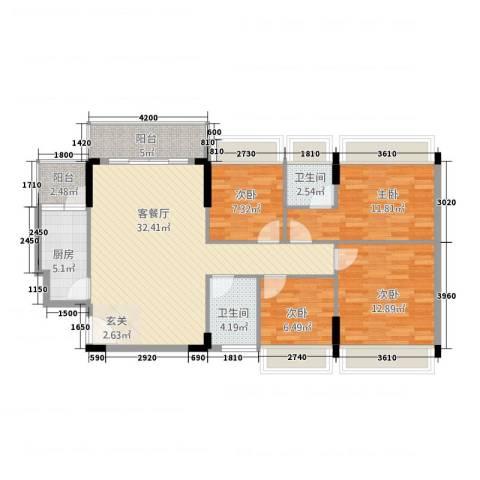 景湖春晓4室1厅2卫1厨127.00㎡户型图