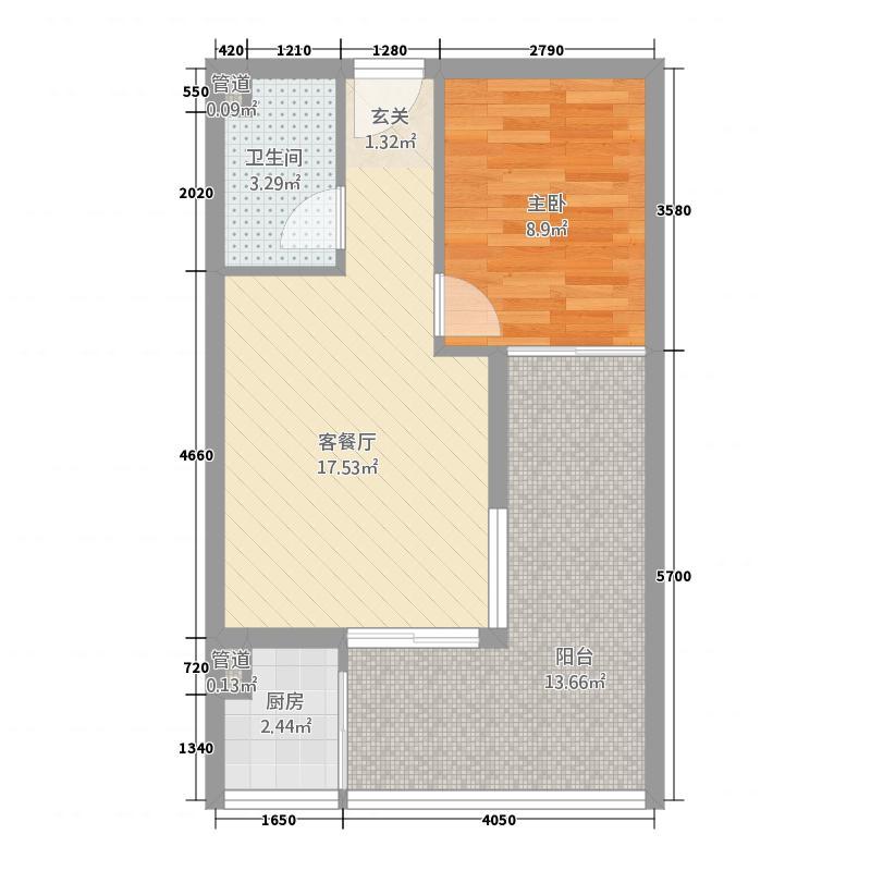 �球�苑55.60㎡B户型1室1厅1卫1厨