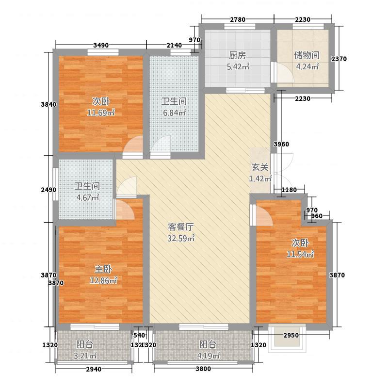 国华苑32.20㎡户型3室2厅1卫1厨