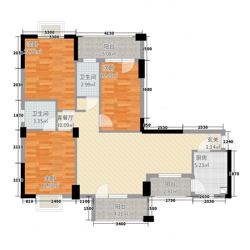 东湖明珠322116.78㎡a户型3室2厅2卫1厨