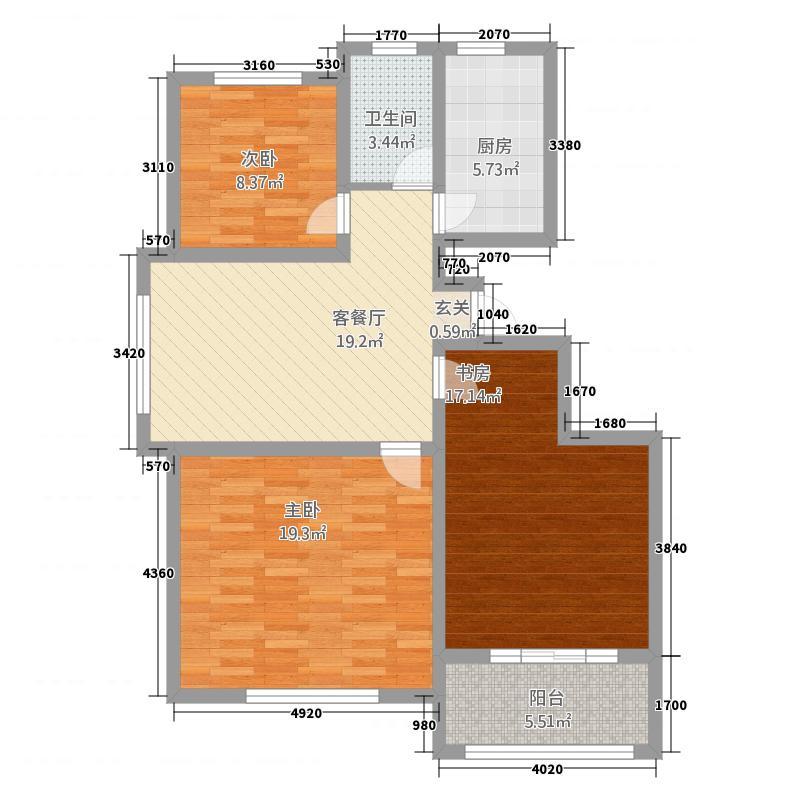 颐轩国际113113.20㎡户型3室2厅1卫1厨