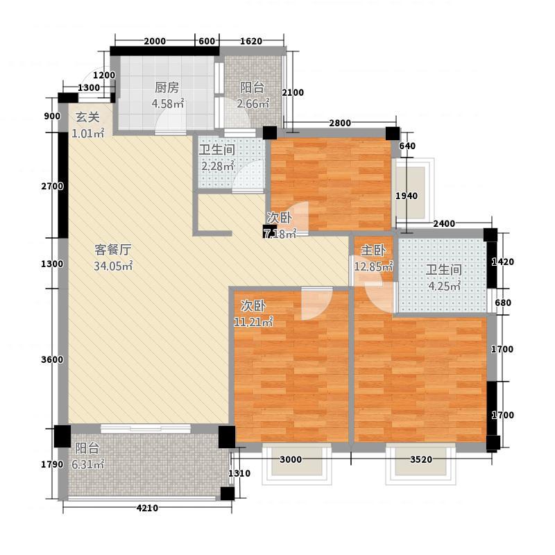 鸿德喜盈门31.78㎡C户型3室2厅2卫