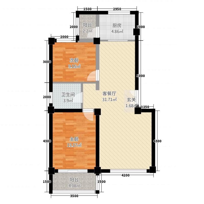 尚景园223.20㎡B户型2室2厅1卫1厨